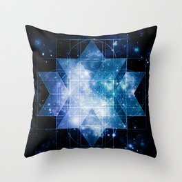 galaxy sacred geometry Blue Teal Throw Pillow