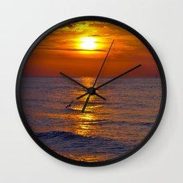 Red Evening Sun Wall Clock