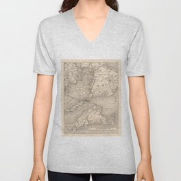 Vintage Cape Cod Old Colony Line Map (1888) Unisex V-Neck