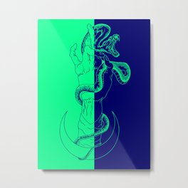 Snake hand on green and blue Metal Print