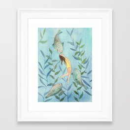 Playing with seals! Framed Art Print