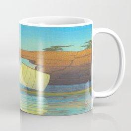 Kawase Hasui Natural Rock Arch w  Sailing Boat at Sea, Kawase Hasui, Japanese Woodblock Print  1937 Coffee Mug
