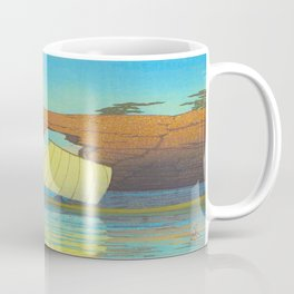 Kawase Hasui Natural Rock Arch w  Sailing Boat at Sea, Kawase Hasui, Japanese Woodblock Print  1937 Coffee Mug