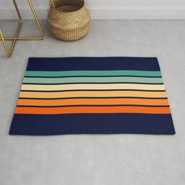 Marynda - Classic Colorful 70s Vintage Style Retro Summer Stripes Rug