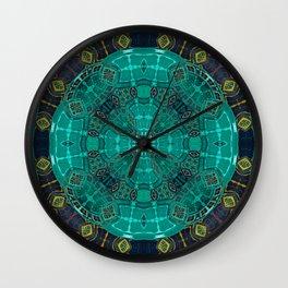 African Fabric Medallion Mandala in Deep Teal Wall Clock