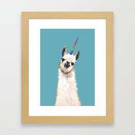 Unicorn Llama Blue Framed Art Print