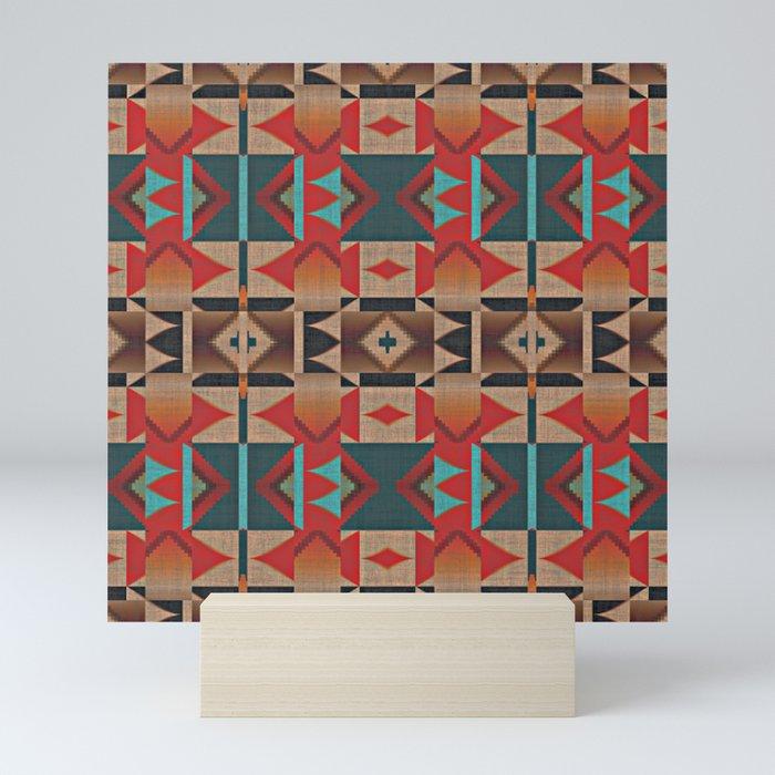 Native American Indian Tribal Mosaic Rustic Cabin Pattern Mini Art Print