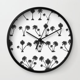solar palm beach in a dark color Wall Clock