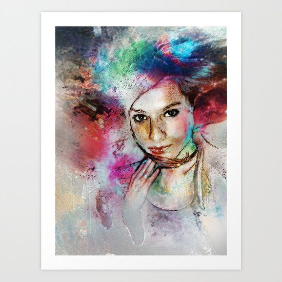 Girl with Multi-Colored Hair Art Print