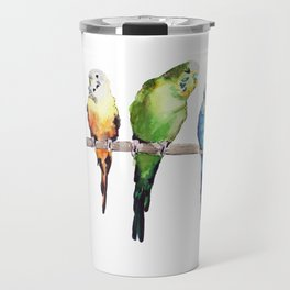 Rainbow Budgie birds Travel Mug