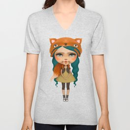 Happy doll with fox Unisex V-Neck