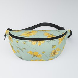 Yellow Cosmos Flower Pattern, Teal Colorway Fanny Pack