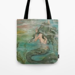 could we be friends? Bffs bestfriends undrewater mermaid reaching for boat on the ocean at sunset Tote Bag