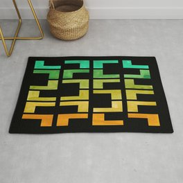 Colorful Watercolor gouache On Black Background Teal Turquoise Yellow Gradient Mid Century Modern Rug