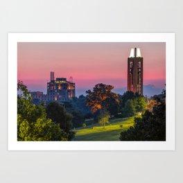 KU Campanile and The Oread Hotel - Lawrence Kansas Art Print