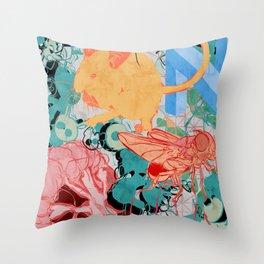 Mouse fly broccoli Throw Pillow