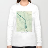 portland Long Sleeve T-shirts featuring Portland Map Blue Vintage by City Art Posters