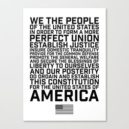 American Constitution Preamble Canvas Print