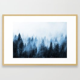 Misty Winter Forest Framed Art Print