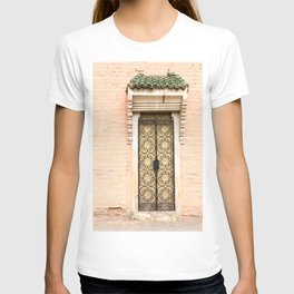 European Architecture - French Door - Colonial French Filigree Doorway Wrought Iron White Cream Peach Pink Black Cottage Classy Quaint Decor T-shirt