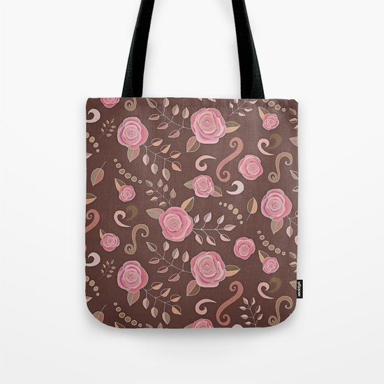 Coffee Roses - vintage rose pattern in pink and brown Tote Bag