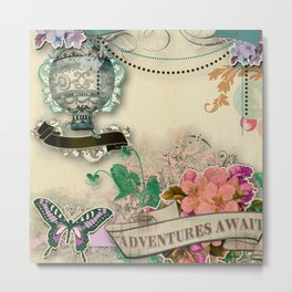 paper cut shabby chic collage f u n Metal Print