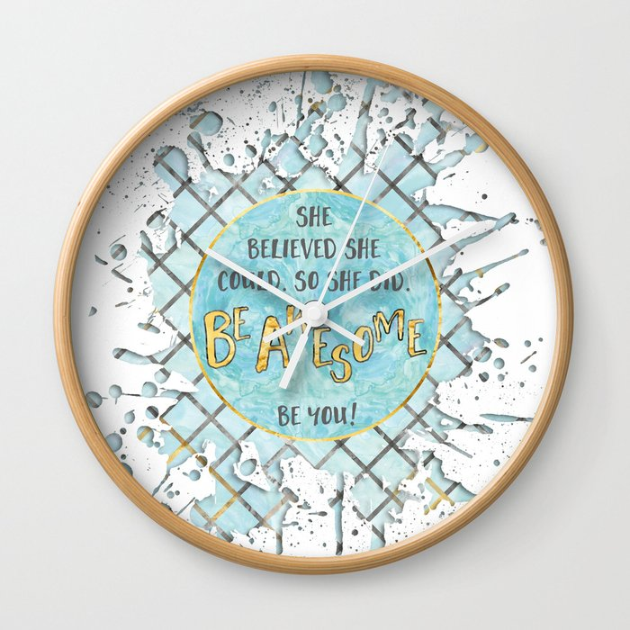 Text Art SHE BELIEVED | cyan/white splashes Wall Clock