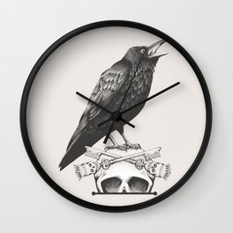Black Crow & Skull Wall Clock