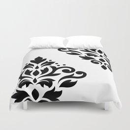 Scroll Damask Art I Black on White Duvet Cover