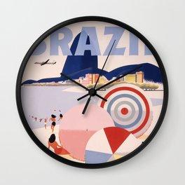 Vintage Brazil Poster Wall Clock