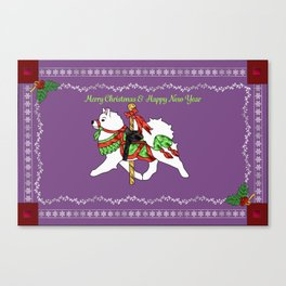 Samoyed Holiday Carousel Canvas Print