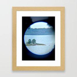 Through binoculars and cellphone Framed Art Print