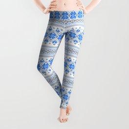 Wellspring - Star Alatyr - Ethno Ukrainian Traditional Pattern - Slavic Symbol 2 Blue Leggings