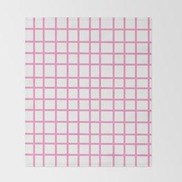 Pink Grid Throw Blanket