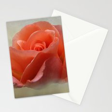 Romantic Peachy Rose Floral Stationery Cards