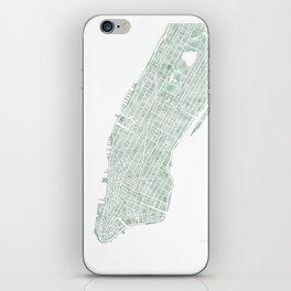 Map Manhattan NYC watercolor map iPhone Skin