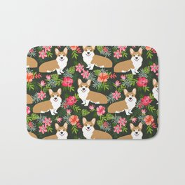 Corgi Hawaiian Print Tropical hibiscus flower cute corgi dog pattern Bath Mat