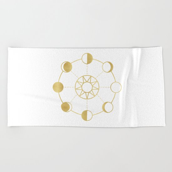 Gold Moon and Sun Phases Beach Towel