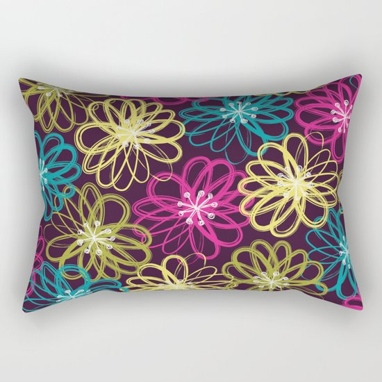 Drybrush Floral Rectangular Pillow