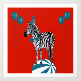 Zebra Party Teal/Red Art Print