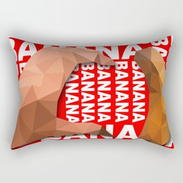 Love Heart One Hand with Banana Food Fruit Red Background Design Illustration Rectangular Pillow
