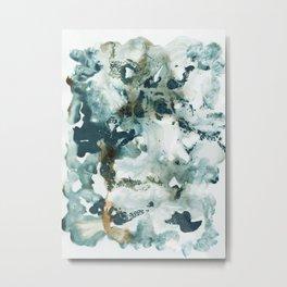 Teal Ocean Ink Abstract #1 #minimal #ink #art #society6 Metal Print
