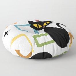 Mid Century black cat Floor Pillow