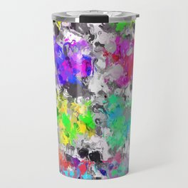 colorful psychedelic splash painting abstract texture in pink blue purple green yellow red orange Travel Mug