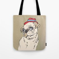 pug Tote Bags featuring Pug by Madmi