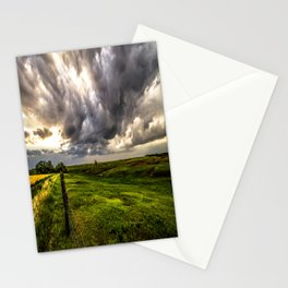 The Prairie - Golden Light Drenches Landscape After Storms in Nebraska Stationery Cards