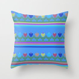 Childish Embroidered Flowers Throw Pillow