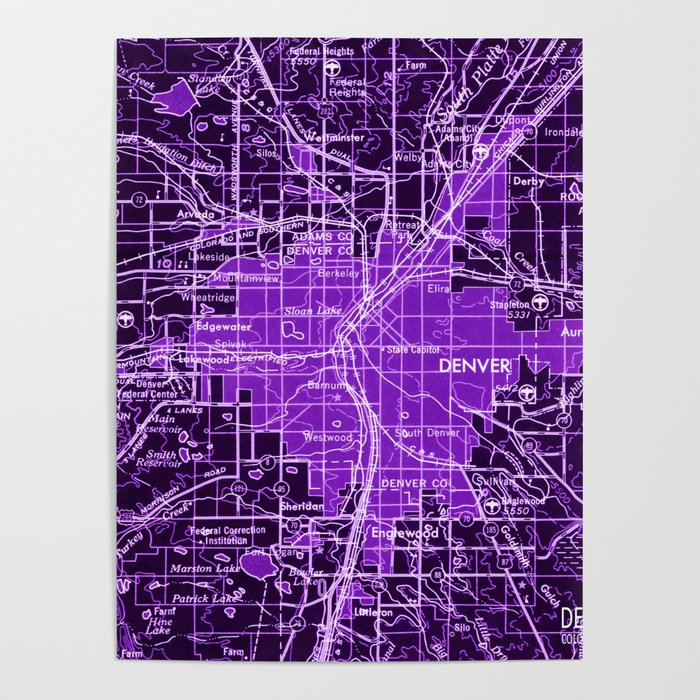 Denver Colorado map, year 1958, purple filter Poster