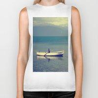 rowing Biker Tanks featuring rowing a boat in egirdir lake by gzm_guvenc