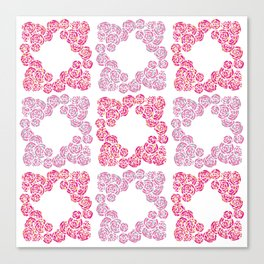 Digital Overlapping Colourful Cluster of Roses Design Canvas Print